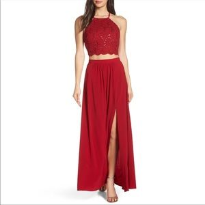 Morgan & Co. Two-Piece Scarlet Lace Evening Dress